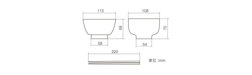 お椀・箸 寸法表